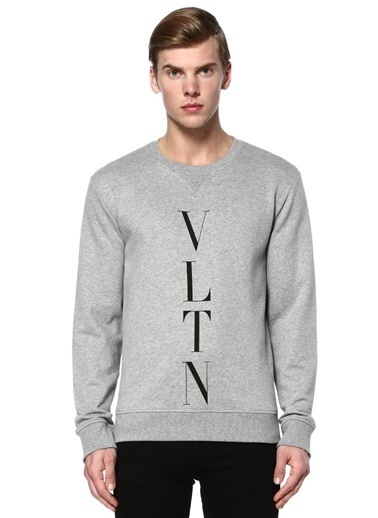 Valentino Baskılı Bisiklet Yaka Sweatshirt Gri